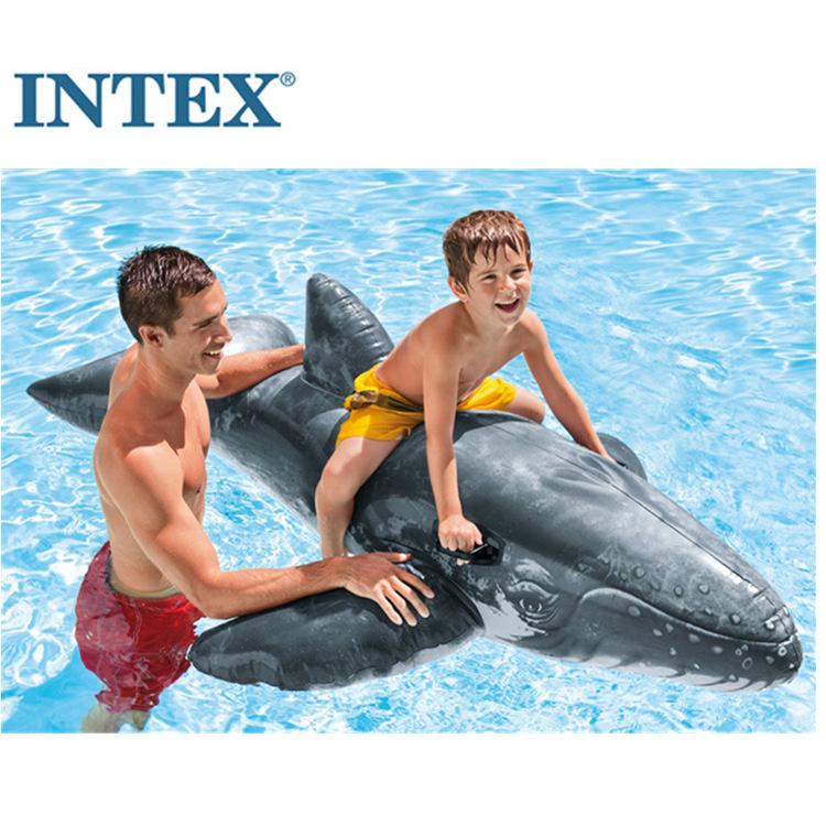 正品INTEX 57530 兒童水上動物大鯨魚坐騎兒童成人游泳圈充氣玩具