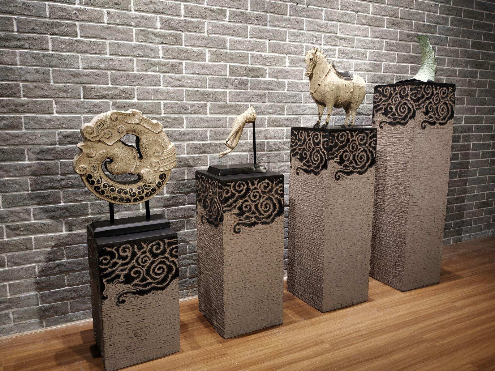 新中式仿古裝飾石柱佛像擺件噴泉底坐雕塑陳列臺展架展示柱祥雲柱