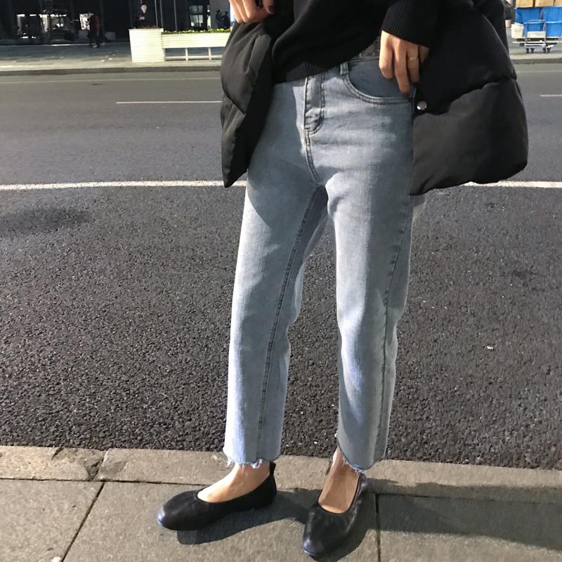 高腰百搭显瘦毛边牛仔九分裤女 chic 春装新款韩版 2019 店 佳哥
