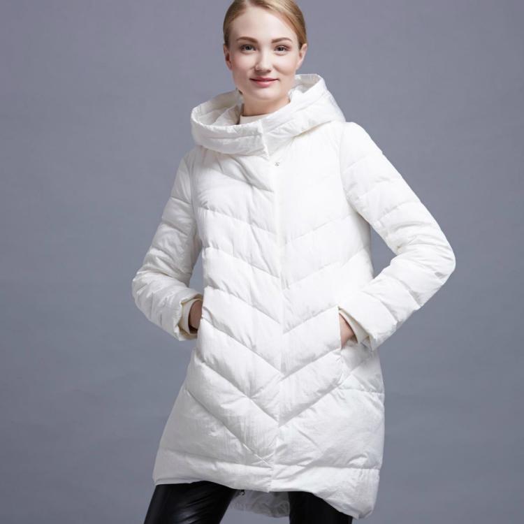 欧美高端大牌范儿绝美茧型连帽中长款羽绒服女欧洲站冬装外套潮