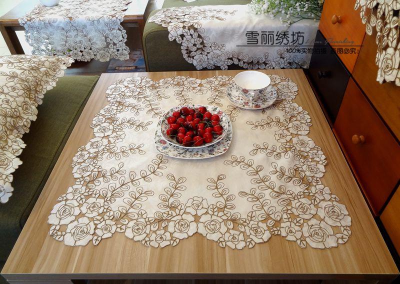 田园布艺欧式中式绣花防尘微波炉电脑床头柜正方形盖巾香槟玫瑰
