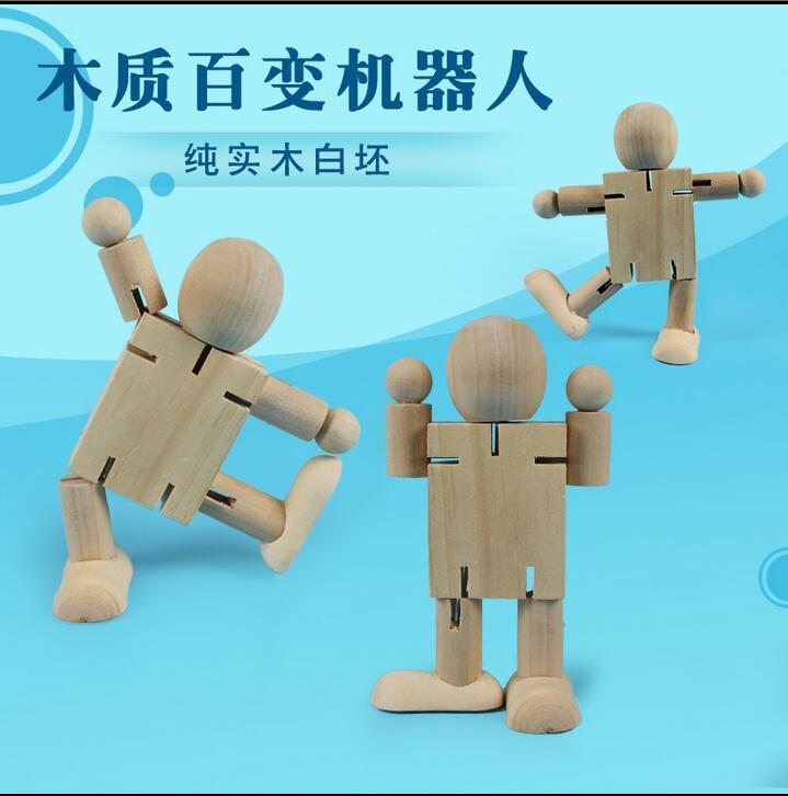 亲子创意制作木制机器人关节木偶幼儿园diy手工材料涂鸦益智玩具