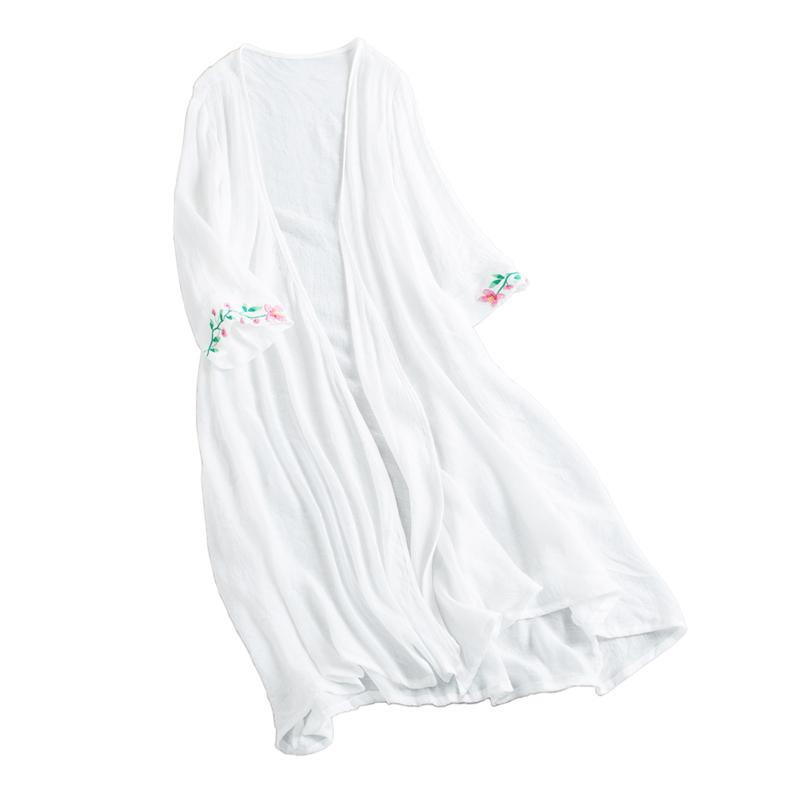 绣花七分袖薄纱开衫中长款女夏披风防晒衣超薄外搭宽松上衣中国风