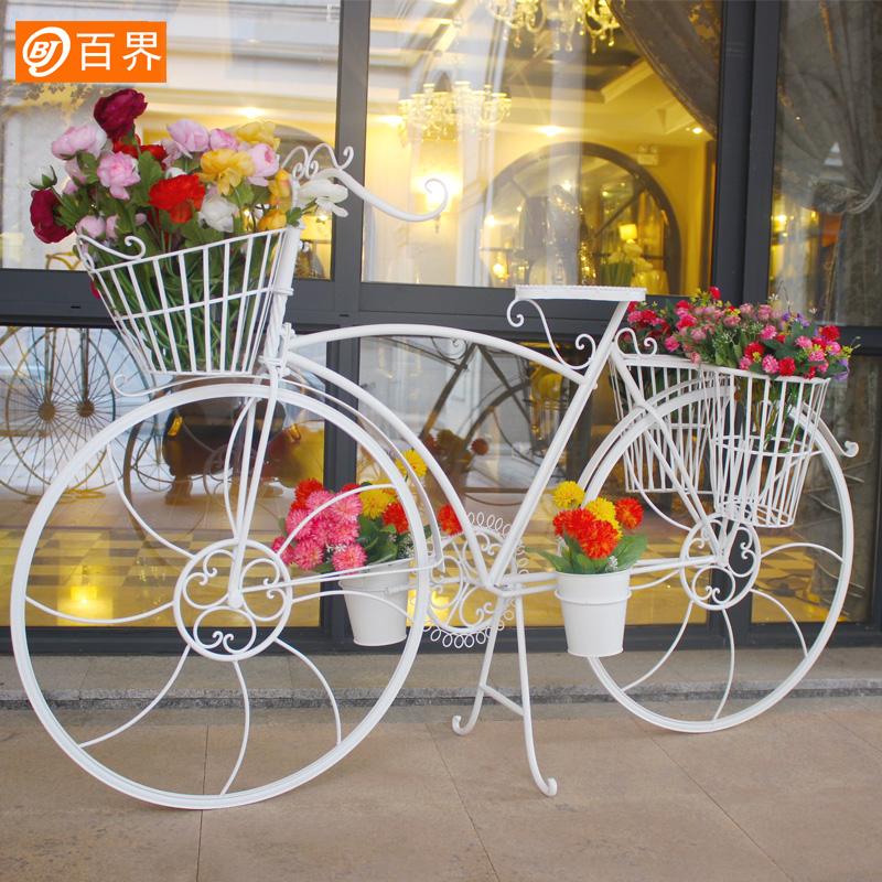 创意婚庆婚礼道具橱窗装饰摆件欧式复古铁艺落地大自行车花车架子