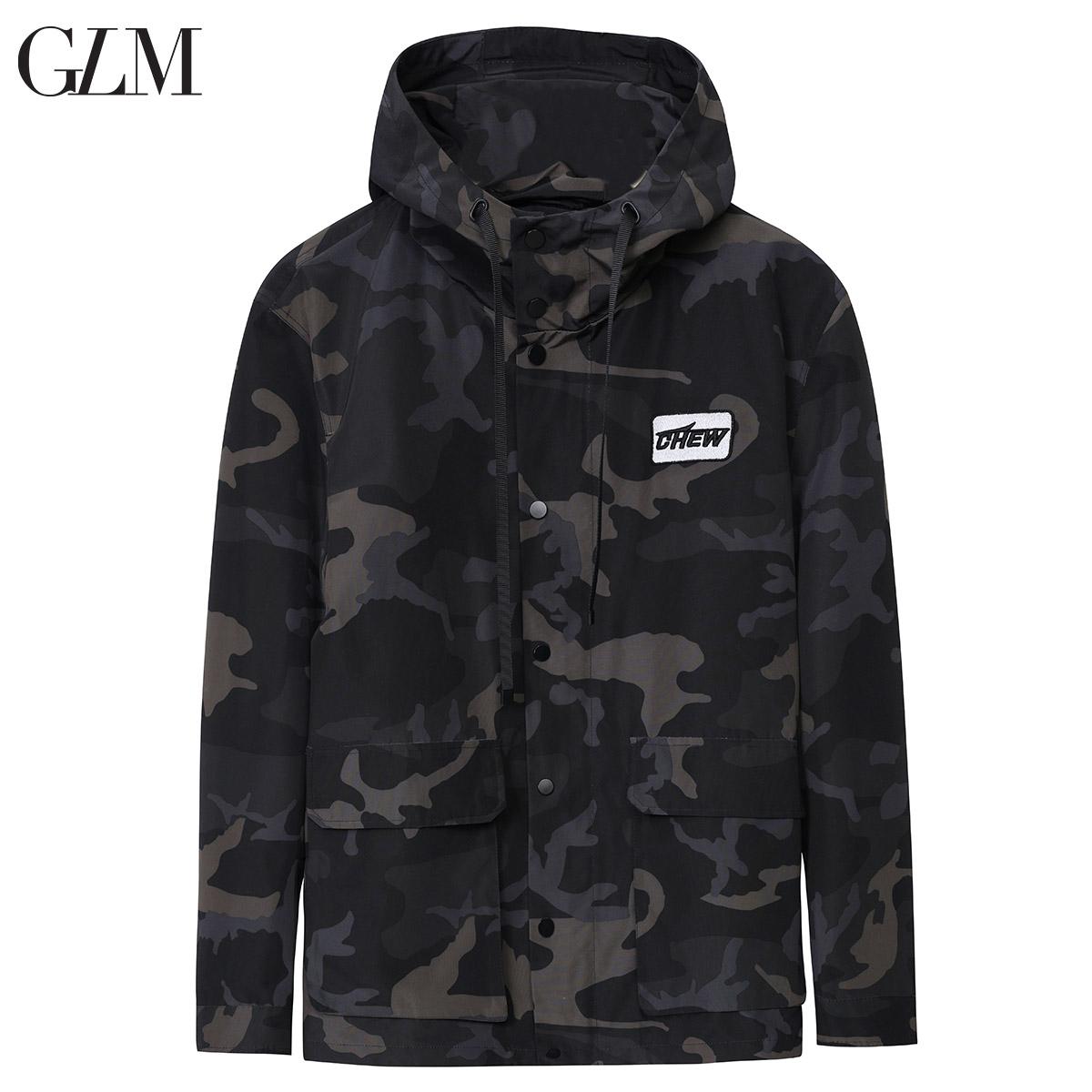 GLM男装2019春季新款男士迷彩夹克修身防风外套国潮连帽工装外衣