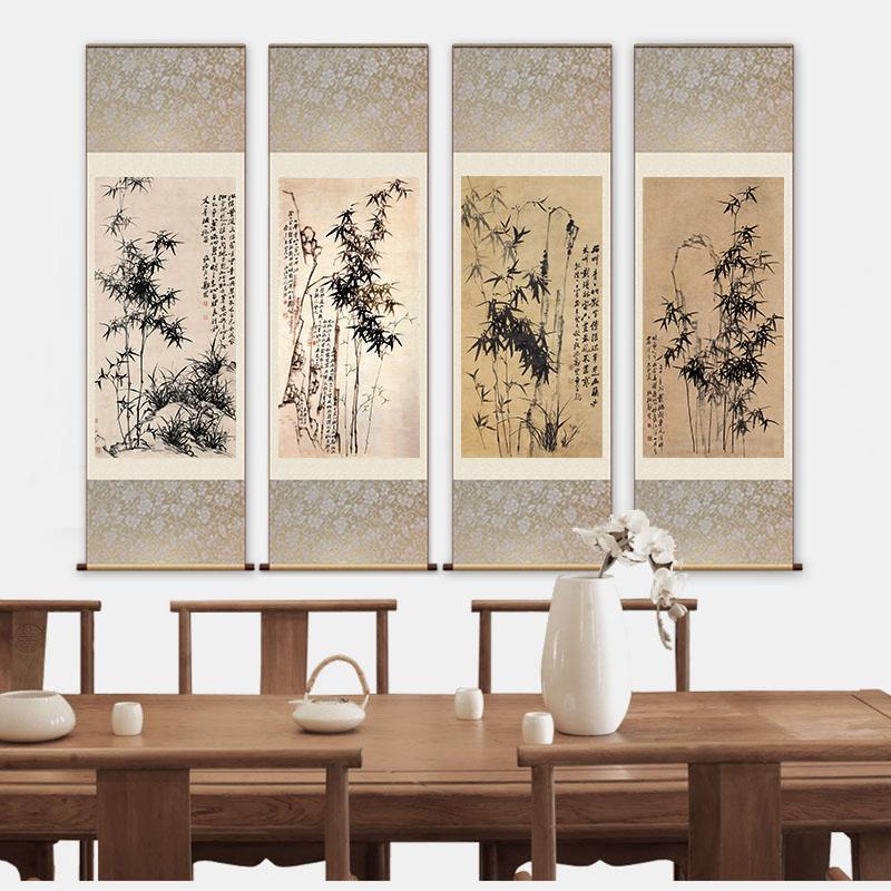 絲綢畫國畫卷軸畫竹子掛畫鄭板橋竹子字畫書房茶樓裝飾畫定制禮品