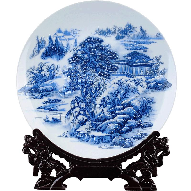 陶瓷摆件瓷器盘粉彩青花瓷装饰盘花盘子摆设现代时尚中式家居装饰