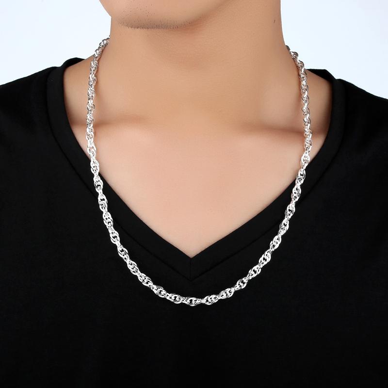 百寻99足银纯银项链男士四方水波纹链女款银饰品锁骨链情侣银链子