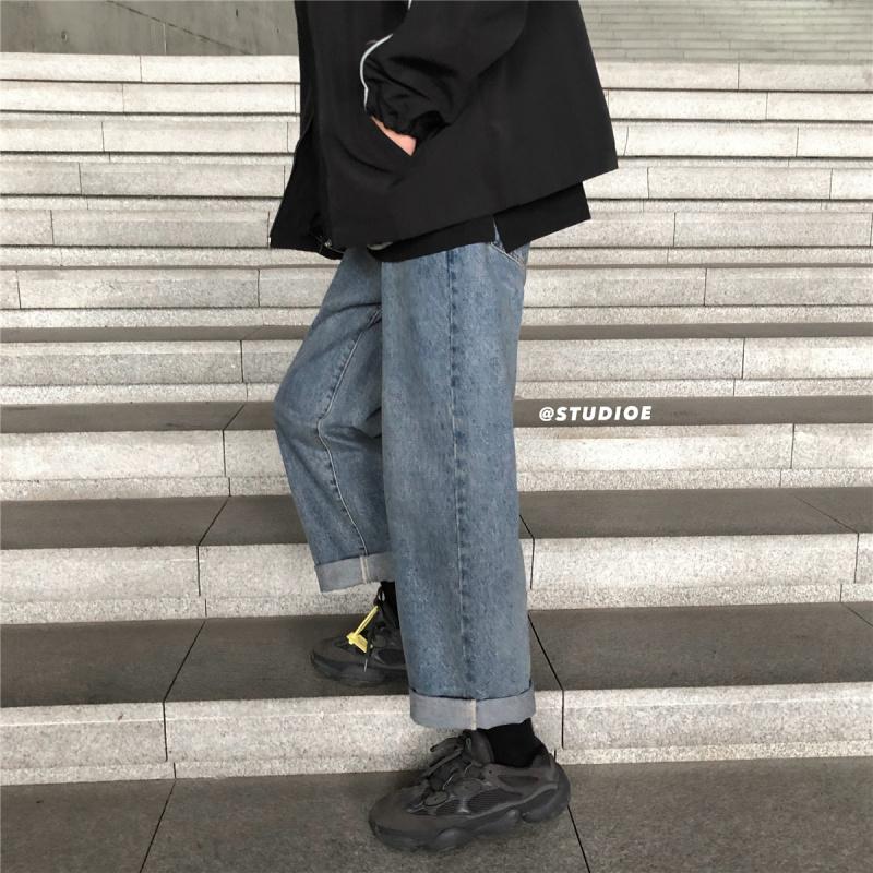 子俊男装春秋季潮牌裤子男韩版宽松坠感牛仔裤纯色百搭直