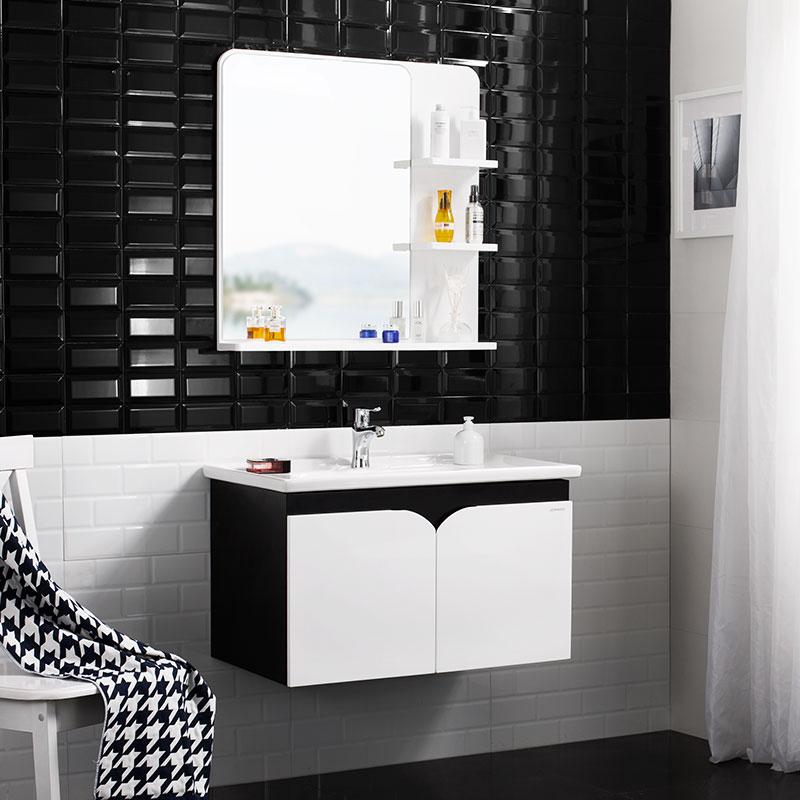 JOMOO九牧PVC卫生间黑白浴室柜组合洗漱台洗脸盆洗面盆柜化妆镜