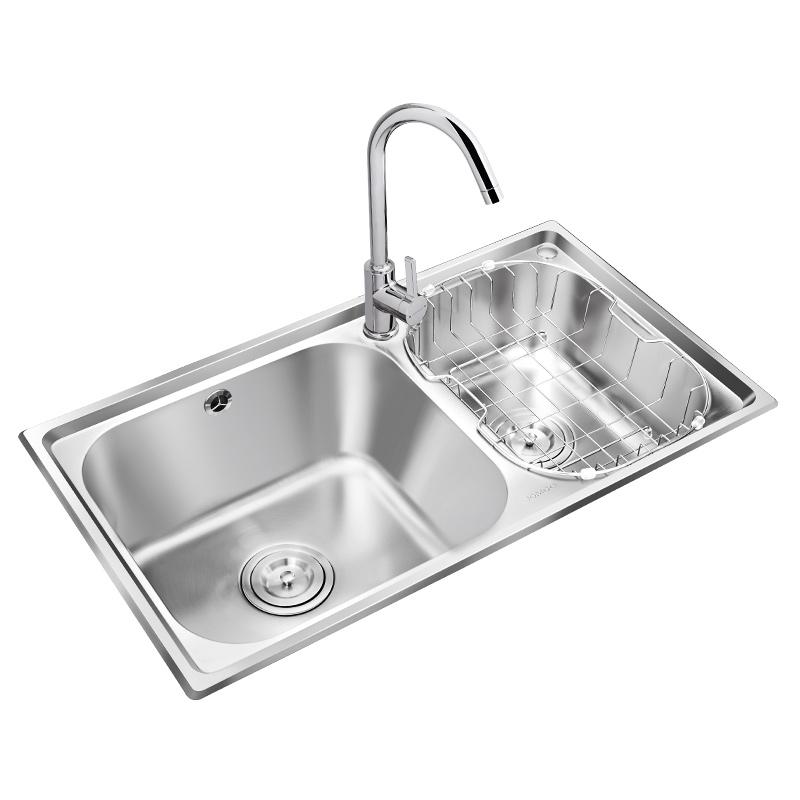 九牧水槽双槽厨房304不锈钢水槽家用洗菜盆水池洗碗盆水槽套餐