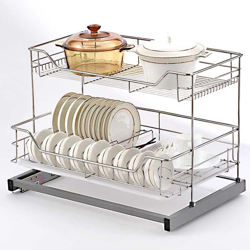 厨房橱柜拉篮碗碟置物架不锈钢双层碗架底部固定柜内碗碟收纳架