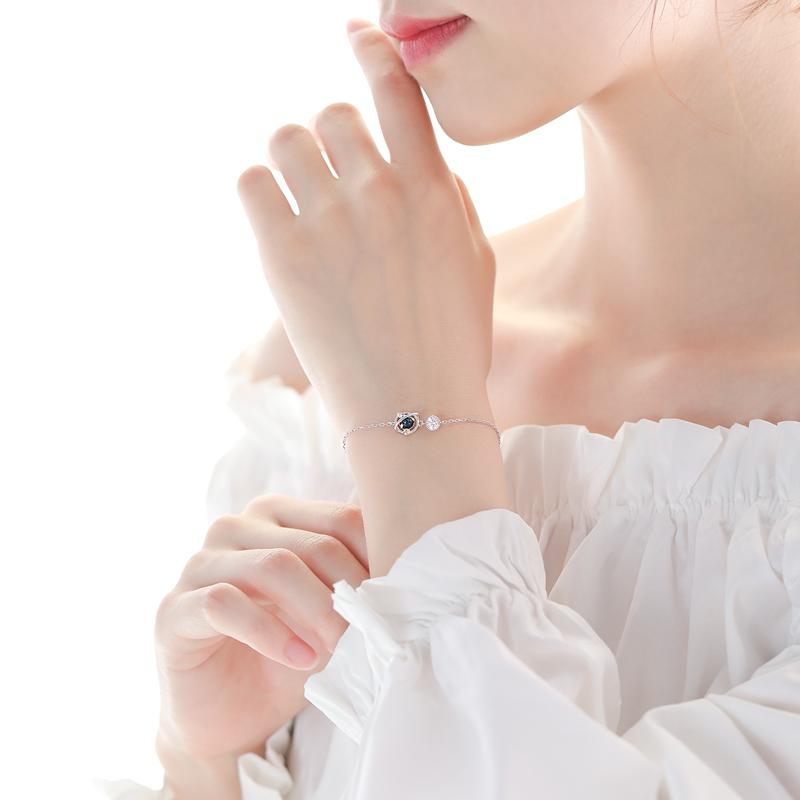 纯银宇宙星空深蓝星球手链简约个姓设计感闺蜜饰品女 巷南   925