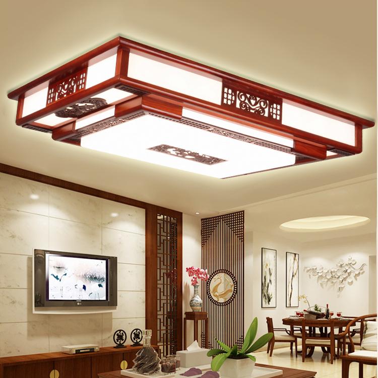 吸顶灯实木艺中式客厅卧室亚克力豪华大气酒店工程古典客栈灯 LED