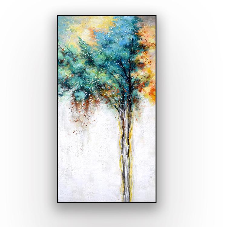 生命树手绘油画现代简约抽象客厅玄关挂画北欧风装饰画餐厅挂画