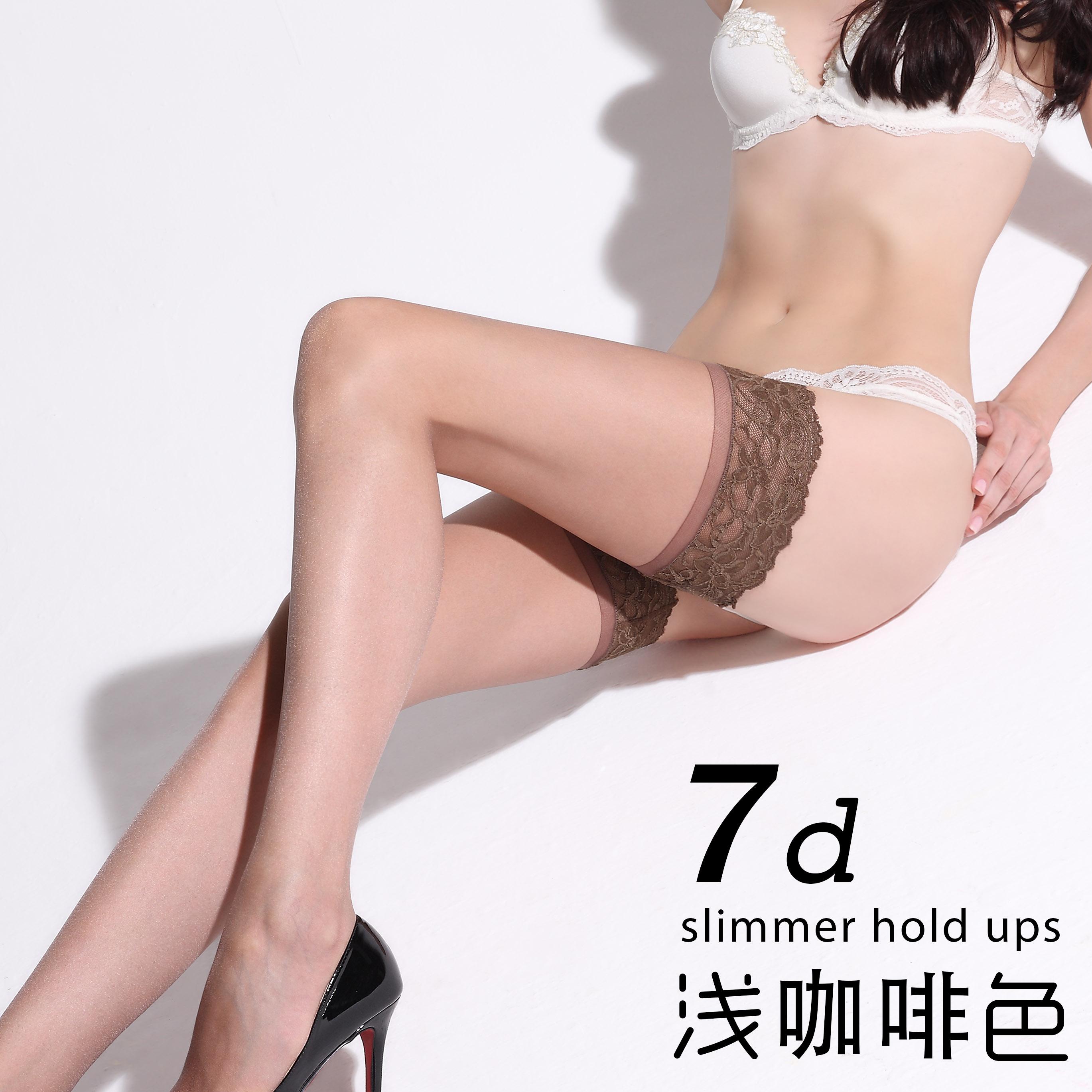 过膝女吊带超薄情趣丝袜可撕防滑蕾丝长筒袜高筒性感丝袜到大腿根