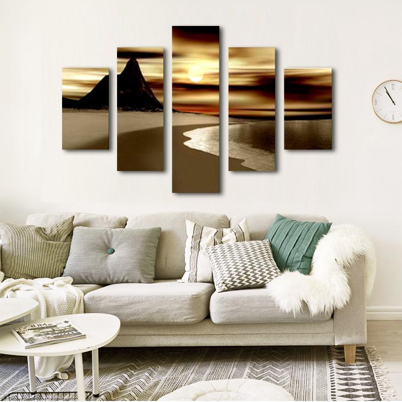 简约纯手绘油画客厅无框画装饰画壁画5拼画现代不规则风景画挂画