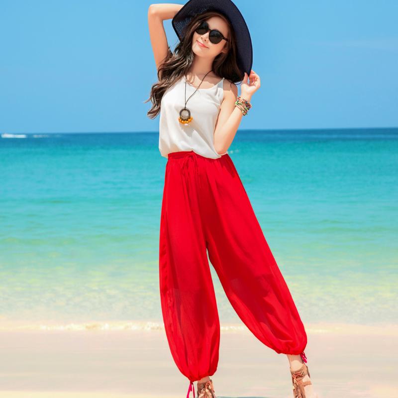 度假小姐波西米亚裤子女夏2018新款沙滩阔腿裤红色灯笼裤裤女