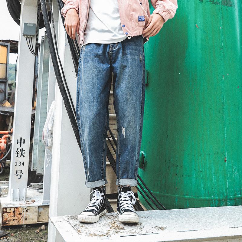 LMTNZD牛仔裤男士春秋季重磅直筒百搭韩版修身小脚宽松潮牌长裤子
