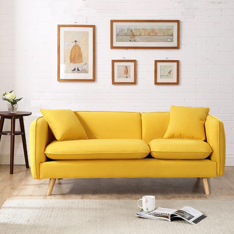 北欧民宿小户型服装店ins网红公寓黄色日式租房双人三人布艺沙发