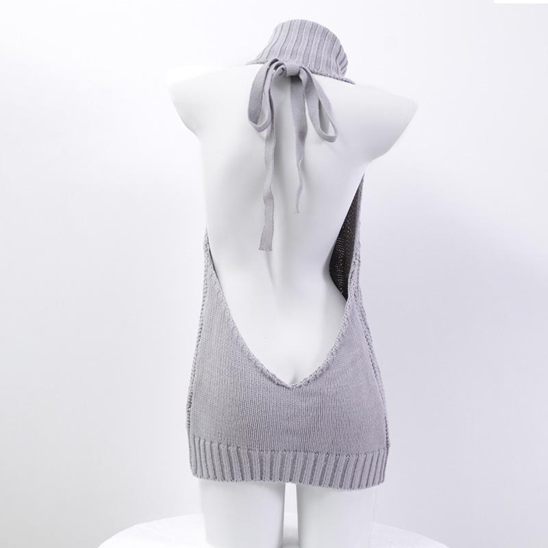 露背毛衣  日系高领少女团子 日本网红毛衣长款针织衣 撩汉出品