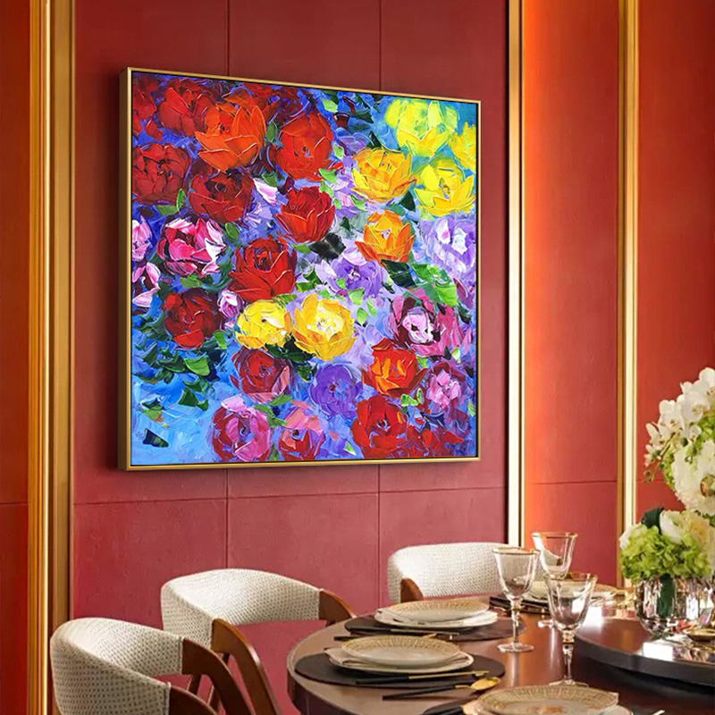 简美客厅大幅装饰画餐厅手绘厚油刀画手工玫瑰花卉油画大芬村定制