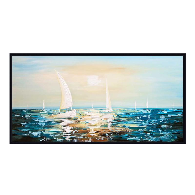 北歐風格裝飾畫純手繪風景油畫餐廳海景畫帆船客廳大幅壁畫大芬村