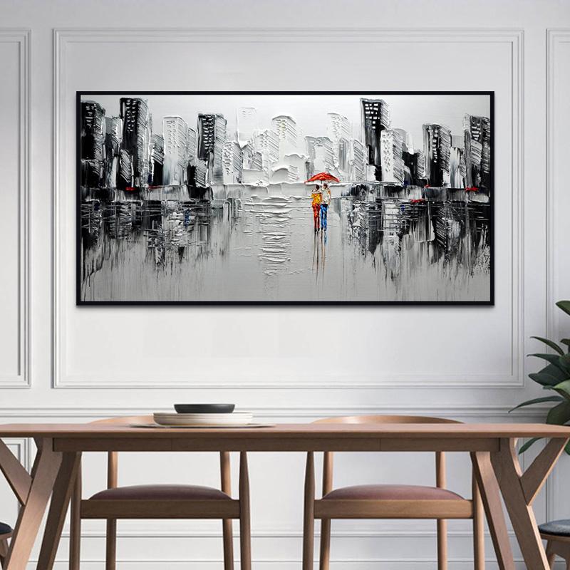 现代简约客厅装饰画黑白挂画纯手工抽象油画餐厅壁画手绘刀画定制