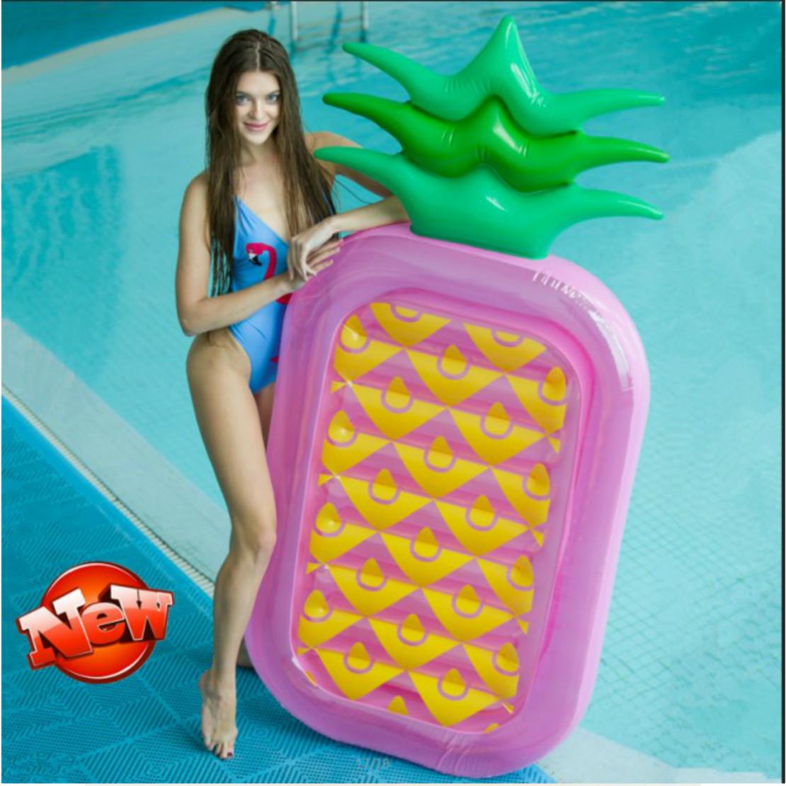 充氣成人兒童水上座騎座墊加厚雙色葉菠蘿浮排浮床游泳圈充氣床