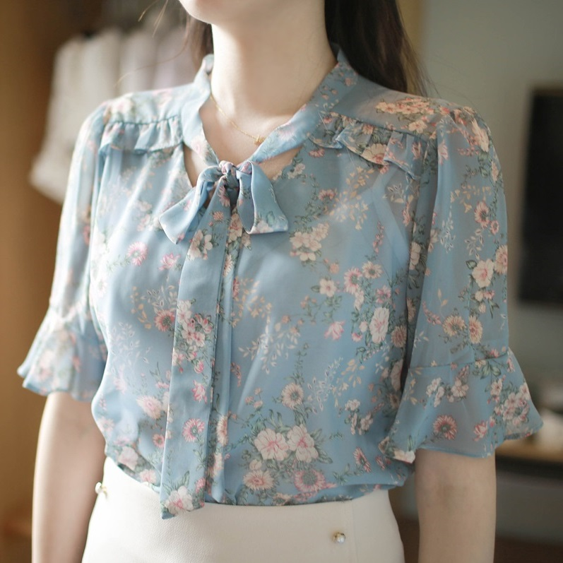 碎花雪纺衫女短袖2017夏季新款女装喇叭袖印花宽松上衣雪纺衬衫