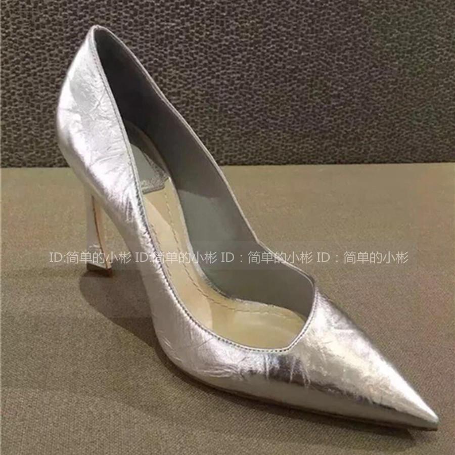 劉亦菲baby同款銀色皺漆皮尖頭香蕉跟馬蹄跟彎跟淺口單鞋高跟鞋女