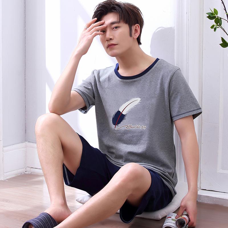 睡衣男夏季纯棉短袖夏天青少年薄款全棉式春秋男士睡衣家居服套装