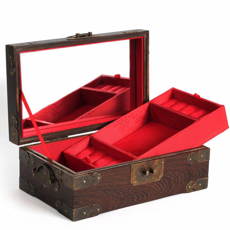 鸡翅木双层红木首饰盒带锁 木质实木仿古珠宝手饰品收纳盒百宝箱