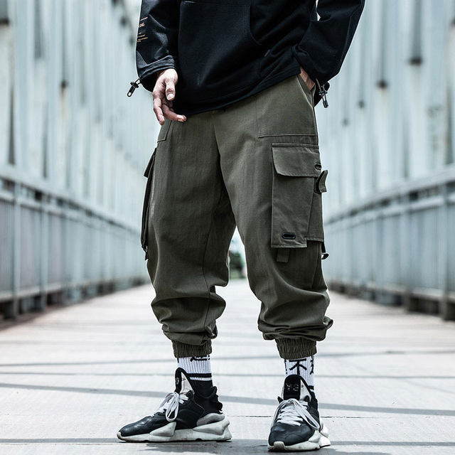 AOGZ national tide machine can wind and wear pants men's spring and autumn tide brand INS loose hip hop casual pants trend beam pants