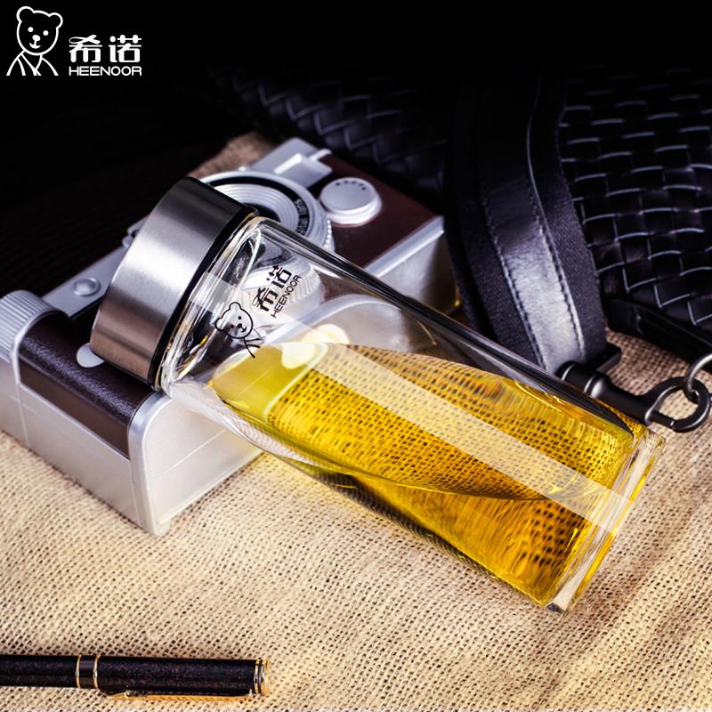 希诺单层品牌玻璃杯加厚便携男士商务水杯高档车载耐热商务水晶杯