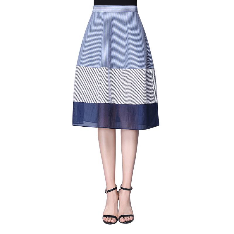 梵希蔓条纹半身裙女春夏中长款A字裙高腰修身显瘦韩版百搭OL裙子c