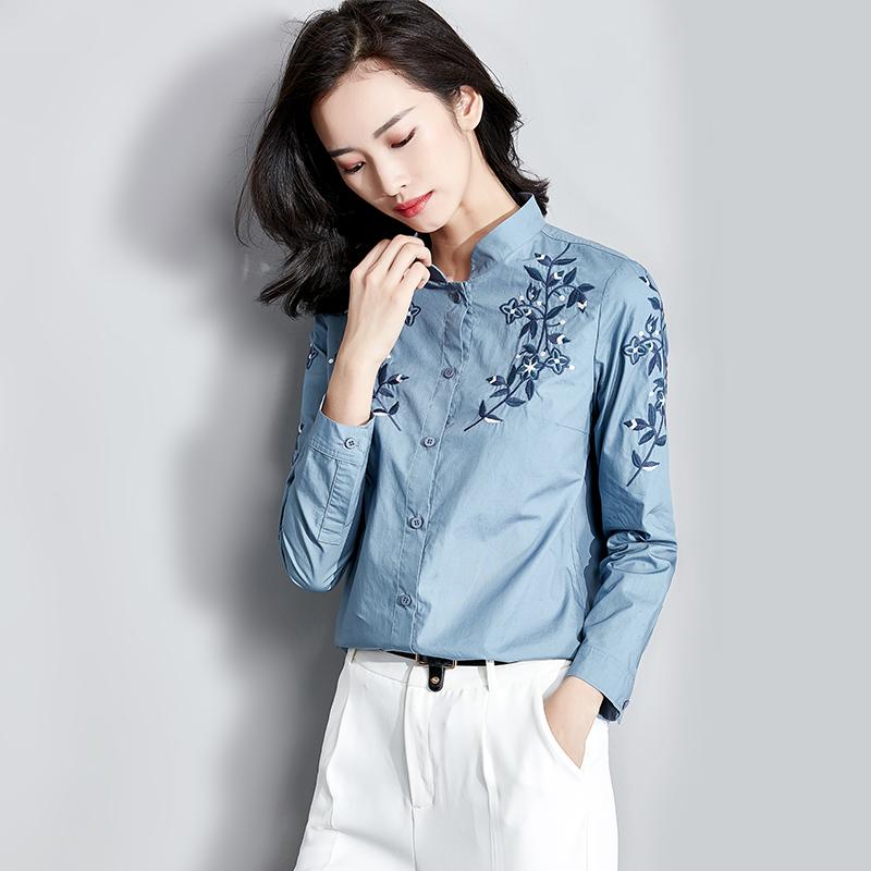 梵希蔓立领绣花衬衫短款2018春秋新款女装复古刺绣衬衣长袖上衣
