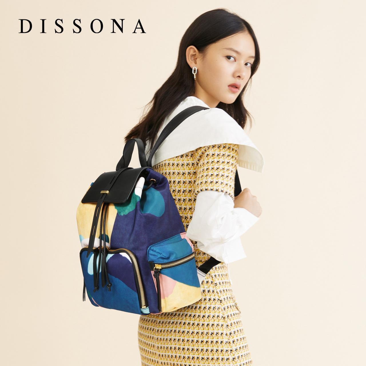 新款包包大容量书包休闲抽绳背包 2019 迪桑娜女包时尚帆布包双肩包