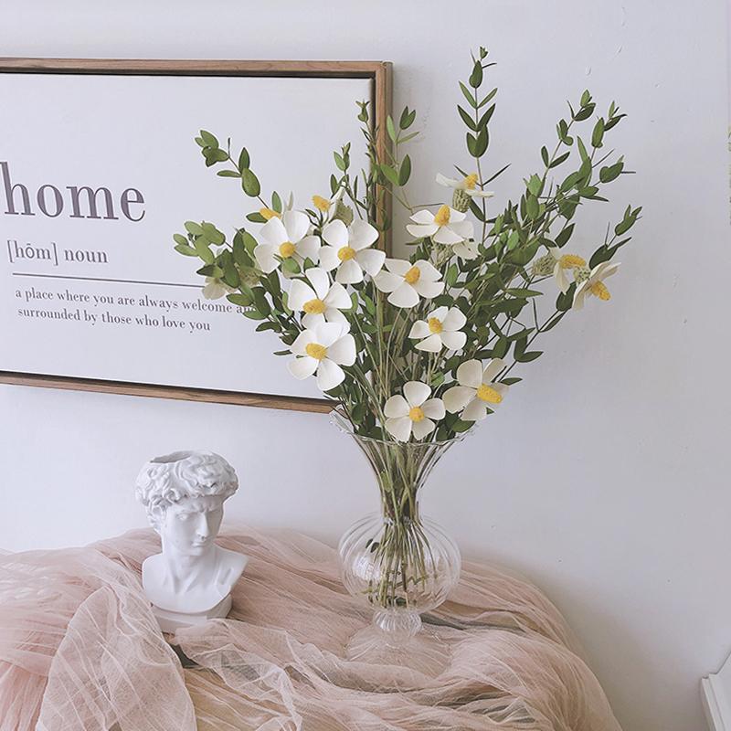 韩国同款chic干花花束尤加利叶紫罗兰玻璃花瓶diy小清新客厅插花
