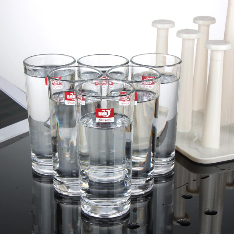 创意杯架玻璃杯水杯套装 塑料沥水盘茶盘 果汁杯透明绿茶杯子家用