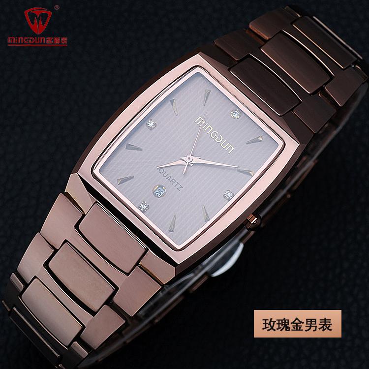 防水长方形男表 蓝宝石镜面 男士商务休闲腕表 正品名盾钨钢手表