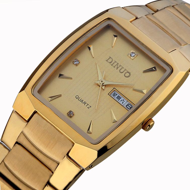 双历长方形金色男表 男士土豪金腕表超薄防水石英表 正品谛诺手表