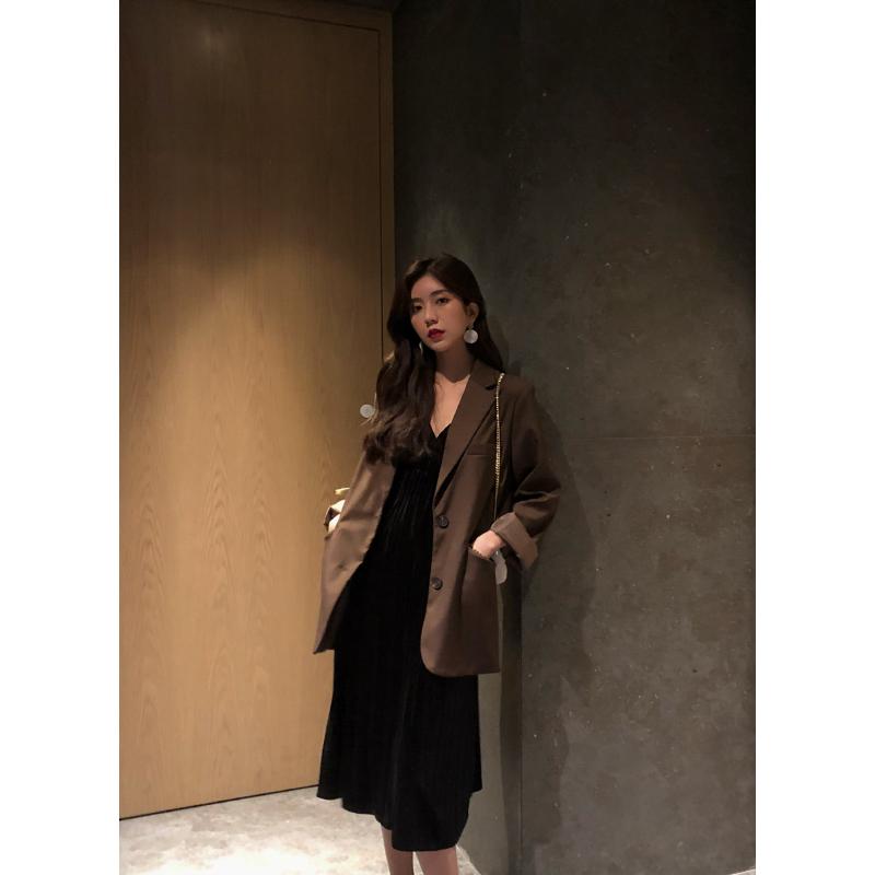 YUQI小西装外套女中长款潮秋装新款韩版宽松休闲上衣百搭西服
