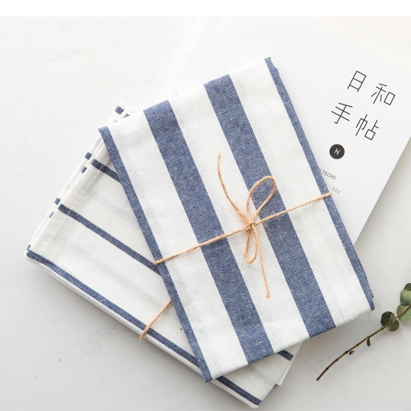 肆月。藍色條紋格子 純棉質餐墊 餐巾 茶巾 蓋巾 背景布Zakka雜貨