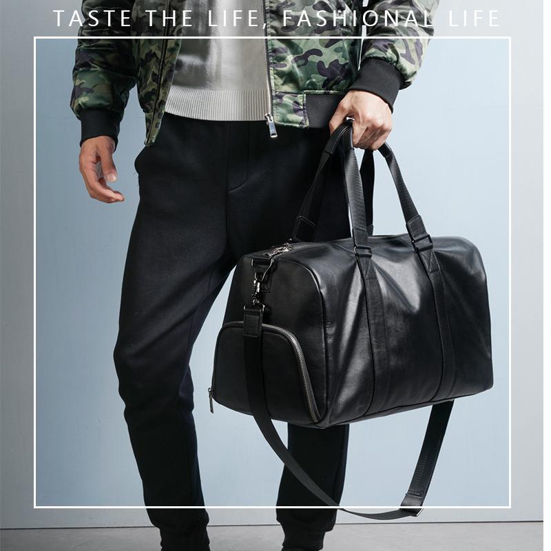 真皮手提旅行包男大容量潮休闲旅行袋短途出差旅游轻便男士行李包