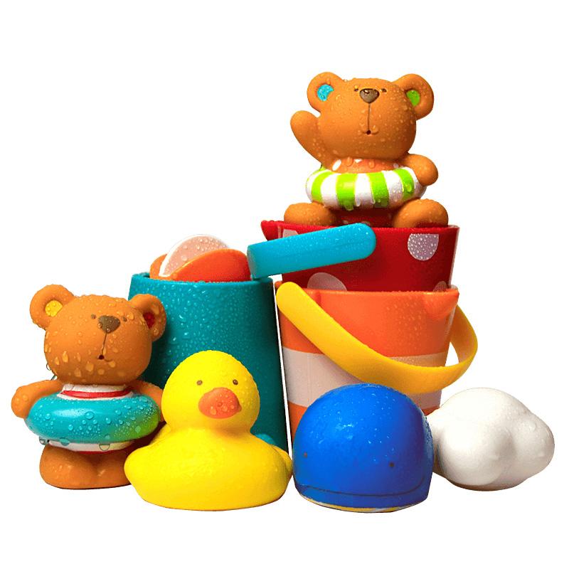 Hape宝宝洗澡玩具儿童花洒漂浮喷水发条小鸭子男女孩婴儿戏水套装