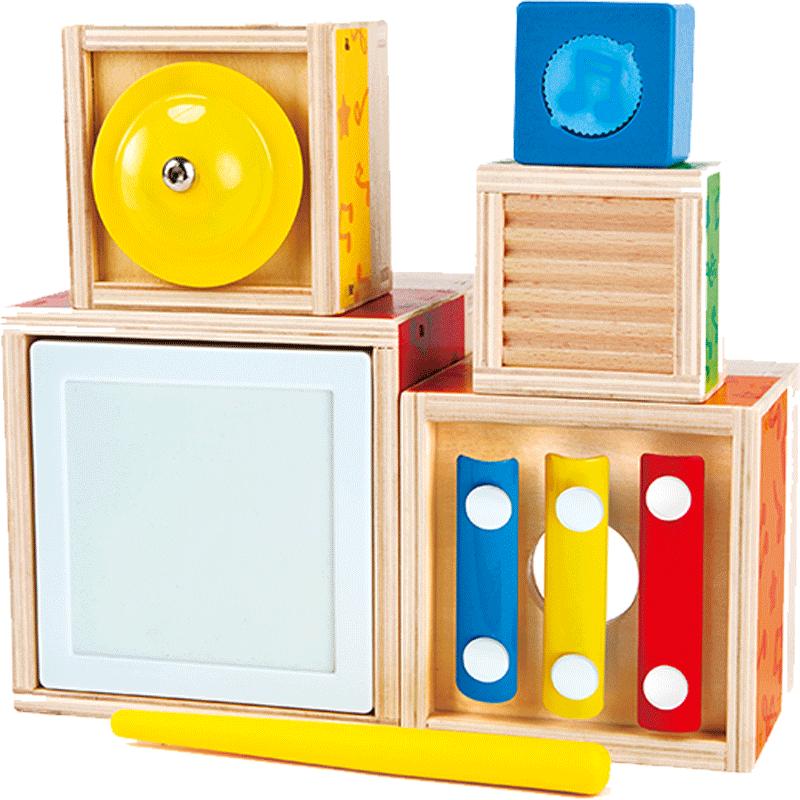Hape五重乐器套盒1-3岁宝宝儿童益智玩具 敲打音乐启蒙木琴呱呱