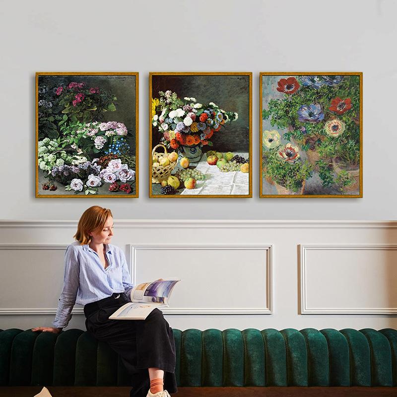 |乙霏工作室|手绘临摹莫奈作品向日葵客厅玄关油画挂画美式装饰画