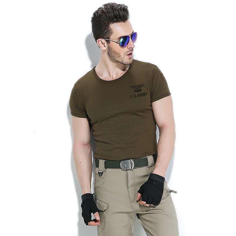 自由骑士户外战术紧身短袖T恤男修身弹力显瘦军迷特种兵夏装