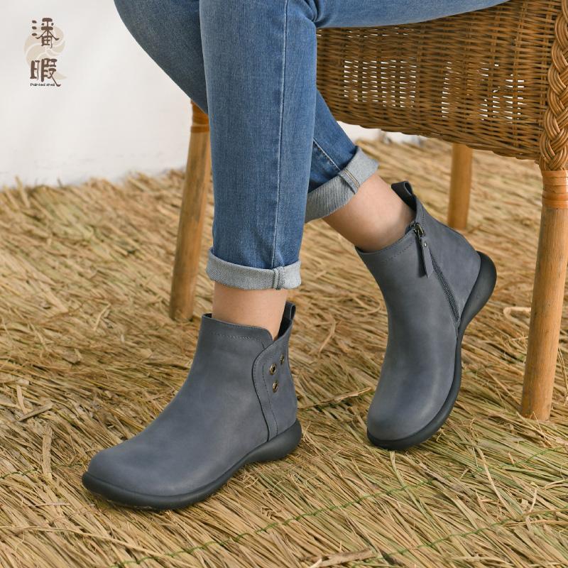 潘暇2020秋冬新款女靴 英伦风马丁靴厚底女短靴真皮大码女鞋41-43 - 图3